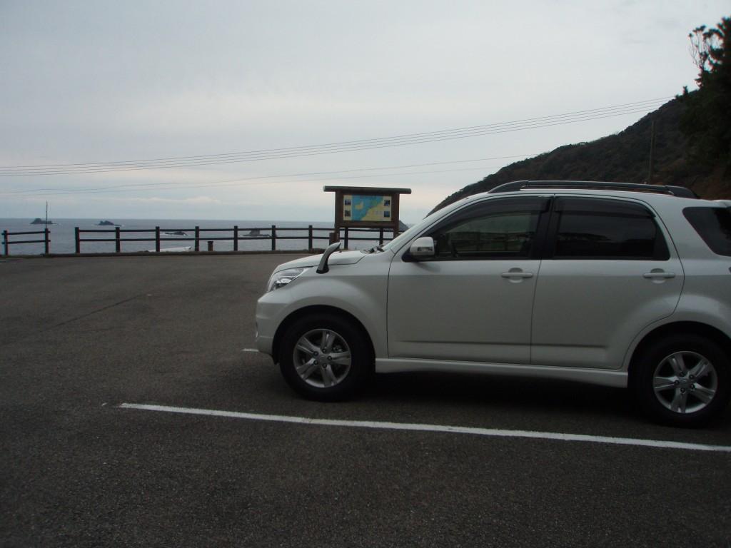 駐車場から海の方を見た風景